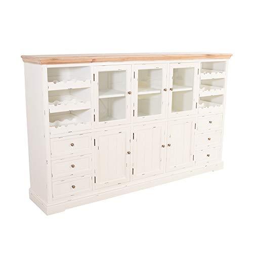 Sideboard Borris mit Weinfach Holz Vintage Look Creme weiß - Creme Sideboard