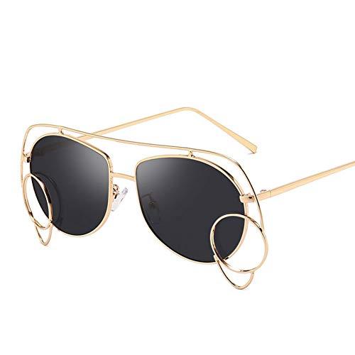 YLNJYJ Sonnenbrillen Vintage Pilot Sonnenbrille Frauen Retro Unregelmäßigen Rahmen Kleinen Kreis Sonnenbrille Männer Damen Brillen Klare Gläser Rahmen