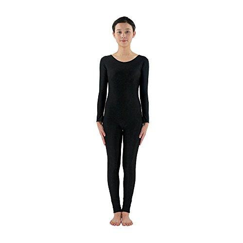 Rundhalsausschnitt Full Body Spandex Dance Unitard Body Kostüme, (Full Schwarz Spandex Body)