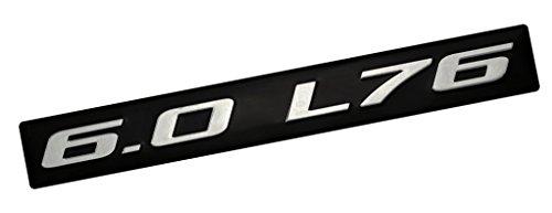 6.0 L76 SILVER on BLACK Highly Polished Real Aluminum EMBLEM
