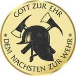 S.B.J - Sportland Pokal/Medaille Emblem, Motiv Feuerwehr, Durchmesser 50 mm, gold