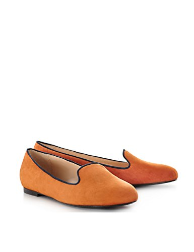 ShoeVita handgefertigte Loafer Damen Wildleder Slipper Orange Größe 33 - 45 Orange