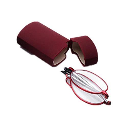 Faltbare Lesebrille aus Metall mit Teleskop-Bügeln Flip Top Etui | Rechteckige hochwertige Brillengläser | Lesehilfe für Damen & Herren von Mini Brille