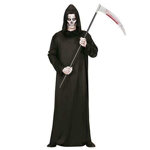 Amakando Unheimliches Gevatter Tod Herren-Kostüm / Schwarz in Größe XL (54) / Creepy Geisterkostüm für Männer / Wie geschaffen zu Gruselparty & Karneval