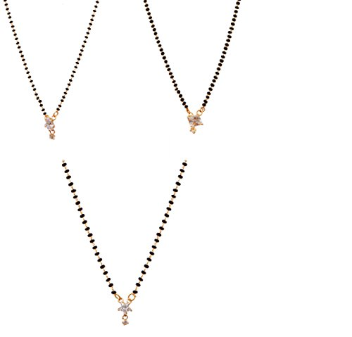 Ashvi Jewellery Gold Plated Combo Of -3 Mangalsutra Pendant With Chain For Women