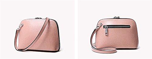 Xinmaoyuan Damen Handtaschen Leder Tasche Mini Sommer weiblich Tasche Einfache Vintage Öl Wachs Leder Messenger Bag weiblichen Shell, Grau Rosa