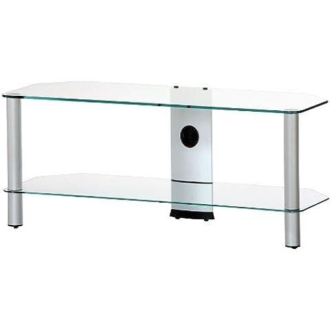 RO&CO M-1102 TG - Mueble TV de 2 estantes. Vidrio transparente / Chasis de color gris. Ancho 110 cms.