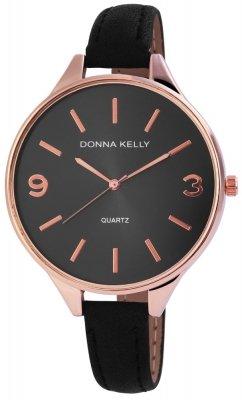 Donna Kelly Damenuhr Kunstleder Farbe Schwarz Ros Rosgold Trend Modern 191031000005