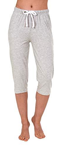 NORMANN WÄSCHEFABRIK Damen Capri Pyjama Hose ¾-lang - Mix & Match - perfekt zum kombinieren 191 222 90 902, Farbe:grau, Größe2:48/50