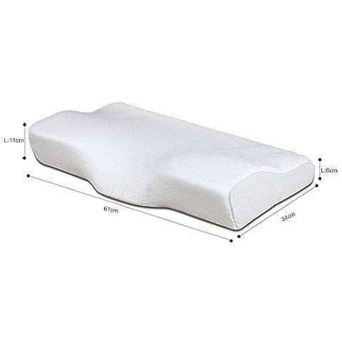 Mousse Oreiller à mémoire, GEOTEL Oreiller à mémoire en arc, avec couverture de rayonne dérivée de bambou pour soulager la douleur au cou, oreiller à col rapproché pour le dos et les coussinets latéraux-Soft (blanc crémeux)