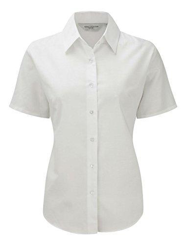 Damen-Bluse mit kurzen Ärmeln aus der Russell Collection  Gr. S, weiß - Baumwolle Popeline Gingham Shirt