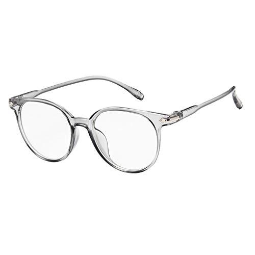 EUCoo Studenten Brille KläRen Anti Blaue Augenpflege Retro Computer Strahlung Volle Rahmenflache Optische GläSer(Grau)