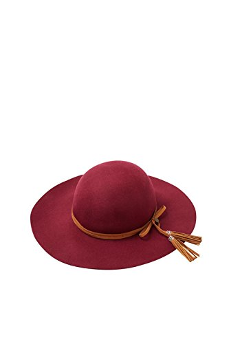 ESPRIT Damen Fedora 086EA1P006, Rot (Bordeaux Red 600), Small