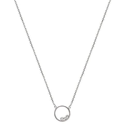 Halskette aus Sterling-Silber 925/000und Zirkonia Kette mit Anhänger fester: Ring, rund, Kreis Durchbrochenes mit 3kleinen Strass, Brillanten weiß–Schmuck Damen