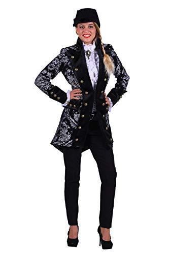 Silber Jacke Kostüm - Thetru Damen Kostüm Barock Brokat Jacke schwarz-Silber Karneval Gr.S