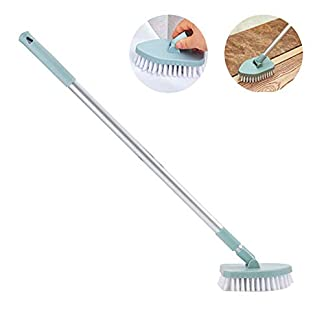 Umiwe Cepillo para Fregar Bañera y Azulejos con Mango Extensible Largo, Depurador de Cepillo Rotativo de 180 Grados para Piso Baño Pared Cocina