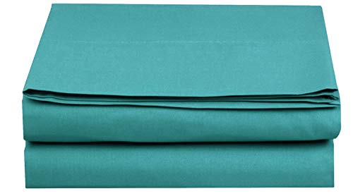 Elegant Comfort. Premium Hotel 1-Piece, Luxury and Softest 1500 Thread Count Egyptian Quality Bedding Flat Sheet, Wrinkle-Free, Stain-Resistant 100% Hypoallergenic, Full, Turquoise