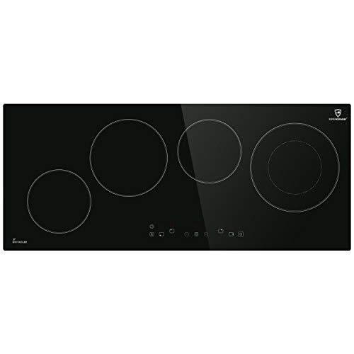 Encimera vitrocerámica 90cm autosuficiente, 6,4kW, 9 escalones, 4 zonas, sin marco, poca profundidad...