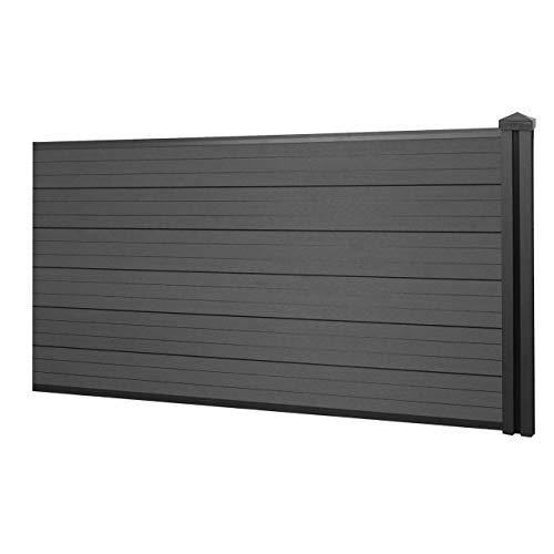 *Mendler WPC-Sichtschutz Sarthe, Windschutz Zaun, WPC-Pfosten ~ Erweiterungselement niedrig, 1,88m anthrazit*