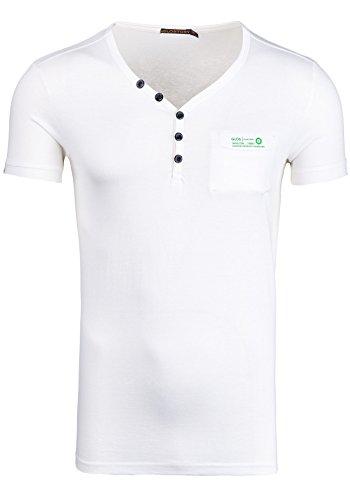 GLO STORY Herren T-shirt Figurbetont Kurzarm NEW! 6152 Weiß