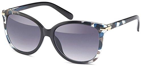 Vintage Sonnenbrille im angesagten Unisex 60er Jahre Style mit trendigen bronzefarbenden Metallbügeln für Herren & Damen - Retro Brille (Blue-Grey-Demi)