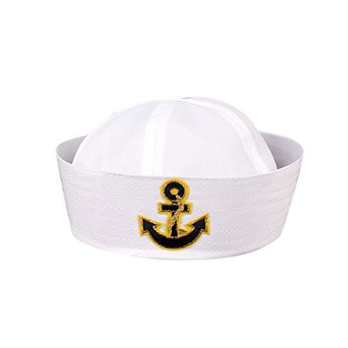 Weiß Navy Hut Kappe Sailors Schiff Boots-Kapitän Militär-Hut Marine-Uniform Cap Stage Performance-Hut Für Frauen-Männer (Marines Junge Uniform)