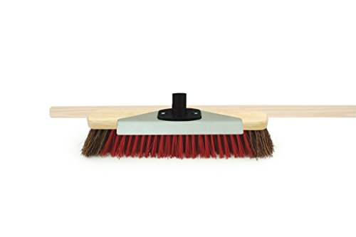 "Price comparison product image Charles Bentley Snow Broom with Scraper and Wooden Handle 16"" Natual Bassine and Red PVC"