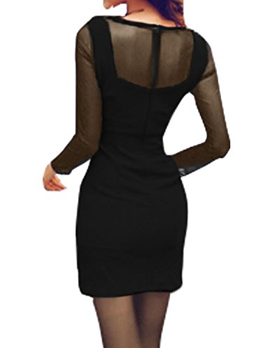 sourcingmap Damen Semi Durchsichtig Netzeinsatz Mini Bodycon Kleid Schwarz