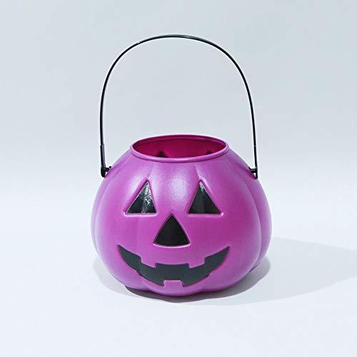 HELIn Halloween-Kürbis-feenhafte Lichter Kinder Tragbare Kürbis Eimer Candy Jar Lantern Dekoration (Farbe : Purple(No Cover)) (Schablonen Uk Halloween-kürbis)