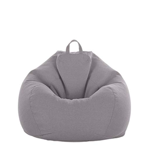 D DOLITY XXL Sitzsackhülle ohne Füllung, Riesensitzsack Sitzsack Bezug Hülle aus Leinen - Grau