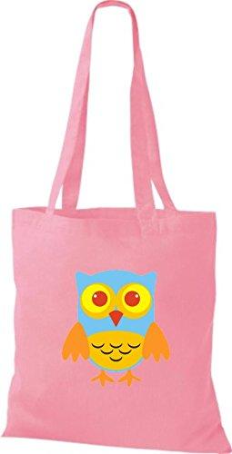 ShirtInStyle Jute Stoffbeutel Bunte Eule niedliche Tragetasche mit Punkte Karos streifen Owl Retro diverse Farbe, gelb rosa
