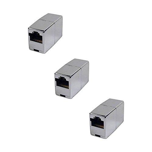 BIGtec 3 Stück RJ45 Ethernet LAN Kabel Kupplung Adapter Verbinder Netzwerk Modular Netzwerkkoppler für Patchkabel Netzwerkkabel Ethernetlan Ethernetkabel verlängern Verlängerung -