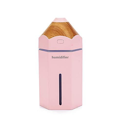 SUNLMG humidificador de Dibujos Animados lápiz USB Creative Desktop pequeño humidificador Mini humidificador con luz para casa/bebé habitación/Dormitorio/Oficina,Pink