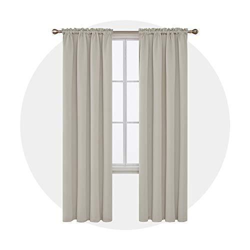 Deconovo Stange Tasche Verdunkelungsgardine mit Gardinen Wohnzimmer Blickdicht Vorhang 242x132 cm Creme 2er Set (Vorhang-stangen Wohnzimmer Für Den)