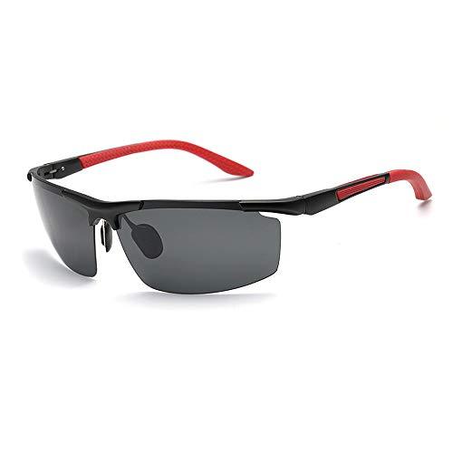 Easy Go Shopping Männer Mode Sport Half Frame Angeln Drivinf Brille UV-Schutz Polarisierte Sonnenbrille Für Sonnenbrillen und Flacher Spiegel (Color : Rot)