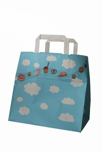 250 Papiertragetaschen farbig bunt bedruckt Motiv Himmlicher Genuss Bäcker Konditor Papiertaschen Tüten Papiertüten Tragetaschen Shopper 26 + 17 x 25 cm (Shopper 17)