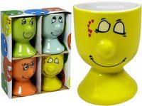 Atosa Ki Funny Face – Set de 4 coquetiers en porcelaine