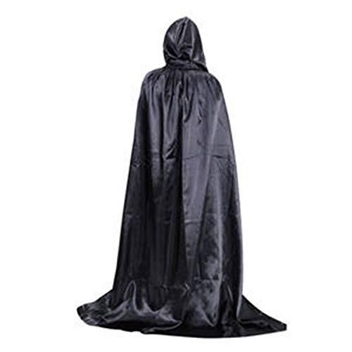 Schal Halloween Death Kapuzenumhang Kostüme Wischen Satin Witch Wizard Cape Schal Kapuze Teufel Robe Wrap Puncho Mantel für Halloween Party Cosplay Playwear für Männer Frauen 1.5M - Schwarz Mode (Witch Wizard Und Kostüme)