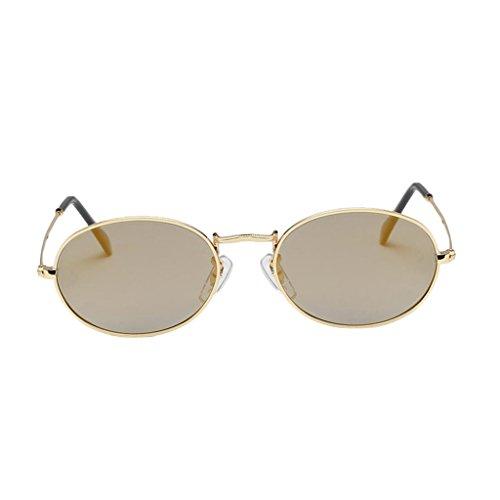MagiDeal Vintage Sonnenbrille mit runden Gläsern Sonnenbrilen Kunststoff Rahmen Brille Gläser für Party Kostüm Freizeit - Goldrahmen Gold Lens