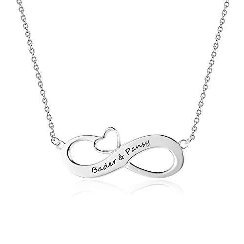 Infinity Namenskette 925 Sterling Silber mit Gravur, Individuelle Unendlichkeit Halskette mit Gravur