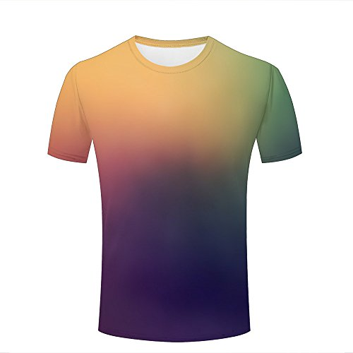 qianyishop Mens Casual Design 3D Printed Misty Gradient Color Graphic Short Sleeve Couple T-Shirts Top Tee XL (T-shirt Ringer Design Junior)