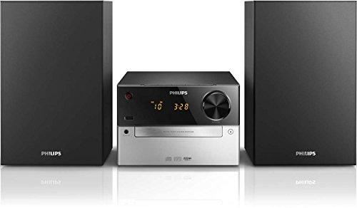 Philips MCM2300 Chaîne Hifi avec Lecteur CD, USB, Entrée Audio, Tuner FM, Basses Profondes, Gris et Noir