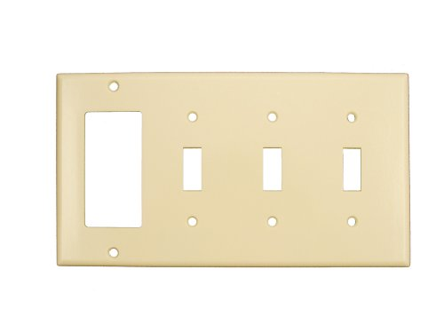 Leviton P326-I 4-Gang 3-Toggle 1-Decora/GFCI Device Combination Wallplate, Ivory by Leviton