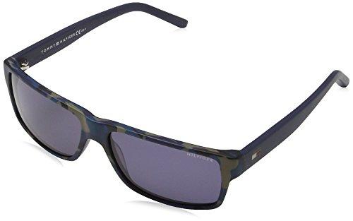 Tommy Hilfiger Unisex-Erwachsene Sonnenbrille TH 1042/N/S 72, Schwarz (Pattern Blue), 57 Preisvergleich