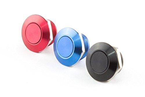 Dripp3D Mini Drucktaster, Ø 12mm, Länge 12mm, Farben: schwarz, rot, blau (Push-knopf-bedienung)