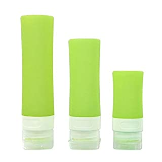 Junjiagao-Prodotti all'aperto Outdoor Products Leak-proof Travel BottleRefillable Squeezable Silicone Bottles and Clear EVA Cosmetic Case(3 Set) (Color : Green)