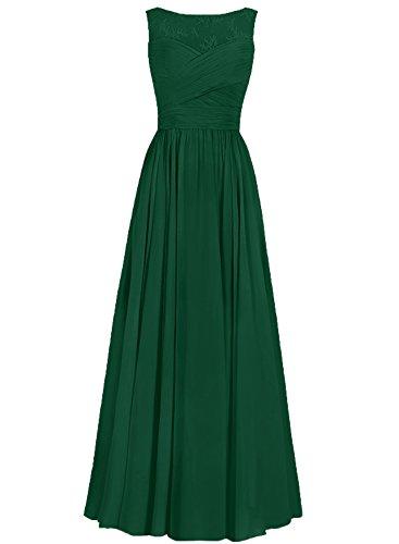 JAEDEN Donne Chiffon Abiti da ballo Vestito da sera Pizzo Abiti da damigella lungo Verde scuro