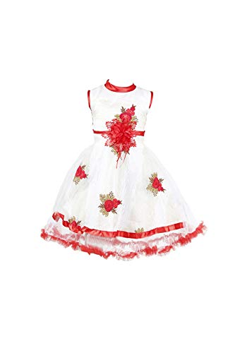YAYAVAR Girls Net Made White & Red Colored Casual/Party Wear Frock for Girls - Set of 01 from 02-08 Years (White & Red_4-5 Years)