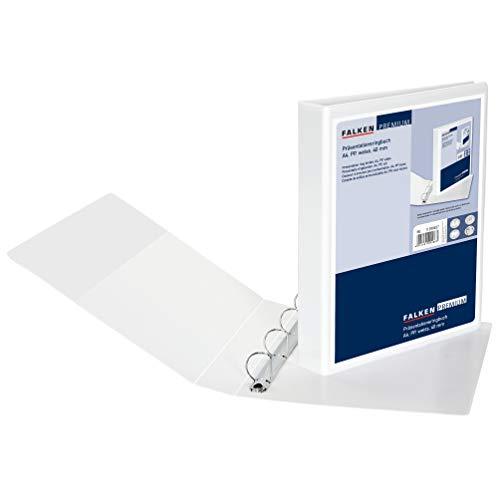 Falken Premium Präsentationsringbuch mit Kunststoffbezug außen und innen 4 Ring-Mechanik DIN A4 Füllhöhe 40 mm weiß Ring-Ordner Hefter Plastikordner ideal für Angebots- und Unternehmenspräsentationen