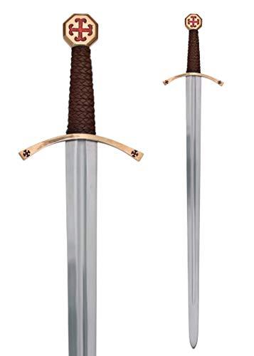 Battle-Merchant Templer-Schwert aus echtem Stahl mit Scheide, echt Metall, für Erwachsene Kreuzritter Mittelalter Ritterschwert -